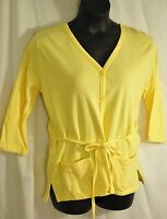 women's Las Olas creamy yellow jacket or top size large long sleeves self belted
