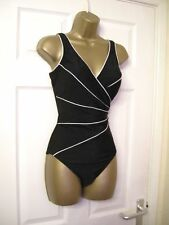10 MIRACLESUIT SWIMSUIT BLACK WHITE WRAP LOOK  POWER MESH BUST + TUMMY CONTROL