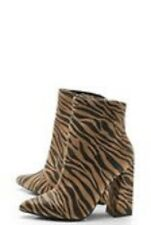 Women's brand new boxed unused brown Zebra Pointed Block Heel Boots size 4 shoes