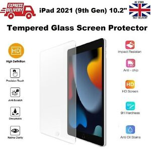 For New iPad 9th Gen 10.2 inch Tempered Glass Screen Protector A2602/A2603/A2604