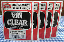 5 Harris Vin Clear Wine Finings Sachets Homebrew Fining Clearing Yeast Vinclear