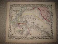 ANTIQUE 1870 OCEANICA OCEANIA POLYNESIA AUSTRALIA HAWAII MITCHELL HANDCOLOR MAP