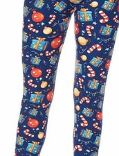 Holiday Gift Wrap Ornament Sugar Candy Cane One size OS Christmas Print Leggings