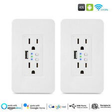 2x Smart wall socket Wifi Plug Wall-in Outlet Remote Fit Alexa Google Assistant