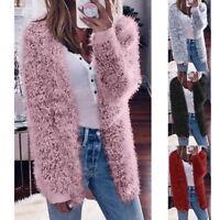 New Winter Warm Women's Cardigan Fur Jacket Outerwear Tops Fluffy Oversized Coat