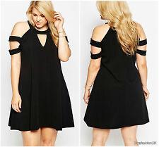 Ladies Women Black Cold Shoulder Crepe Tunic Swing Mini Dress Plus Size 16 18