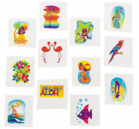72 TROPICAL GLITTER TATTOOS temporary LUAU POOL Birthday PARTY favors