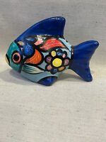 Vintage Mexican Art Pottery Fish Figure Bright Colors