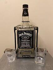 More details for 3ltr jack daniels bottle cradle swing 2 glass christmas party man cave home bar