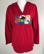Women's Christmas Hooded Top Size Large 12/14 Red Christmas Puppies Holiday XMAS