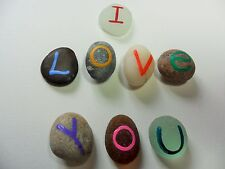 I Love You - Bright multicoloured OOAK hand painted pocket pebbles and sea glass
