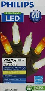 Halloween Philips LED 60 Warm White/Orange Mini String Lights Brown Wire NIB