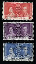 1937 CORONATION STAMPS FROM SIERRA LEONE SG185-187. GOOD TO FINE USED.