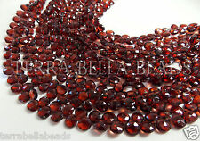 "8"" AAA red MOZAMBIQUE GARNET faceted heart briolette gem stone beads 5mm - 6mm"