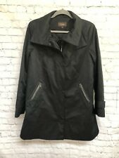 Cole Haan Women's  Black Rain Jacket Coat- Swing Zipped Pockets Lined-Size 8