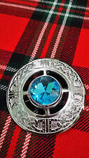 TC Fly Plaid Brooches Sky Blue Stone Celtic Knot Work Chrome/Celtic Brooch 3""