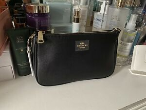 New DEFECT Coach Black Leather Messico Top Handle Pouch Purse Crossbody Mini Bag