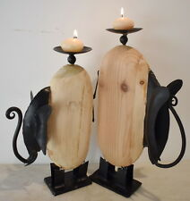 Quirky Elephant Candle Set of 2pc 36x23cm and 32x18cm. Pine Wood and Iron