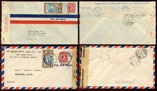 JAMAICA in Cile 1940 + 1945 censori + Airmail... 2 tipi di busta