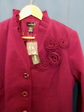 Spense Purple Blazer Large L Jacket Floral Rosettes Embellished Button NEW NWT