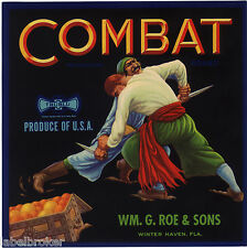 CRATE LABEL VINTAGE FLORIDA WINTER HAVEN SCARCE COMBAT PIRATES FIGHTING KNIVES