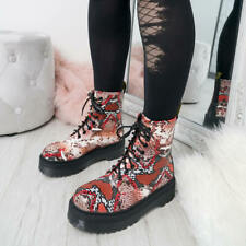 WOMENS LADIES SNAKE SKIN ANIMAL PRINT ANKLE BOOTS LACE UP COMBAT CHUNKY SHOES