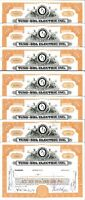 Tung-Sol Electric Inc > set of 7 1950s old stock certificate share