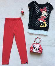 Minnie Mouse Girls T-Shirt & Leggings Size 6, Purse & Tsum Tsum Keychain - NEW!