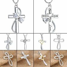 Fashion Unisex Women Men Cross Crystal Necklace Pendant Chain Gift Silver Tone