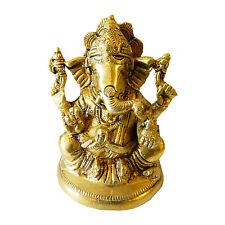 Figura latón Ganesha 9,5 cm dios elefante amuleto artesanía India decoración
