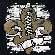 Vtg New Orleans Saints WHO DAT Shirt Adult Sz 2XL Black Gold Short Sleeve Tee