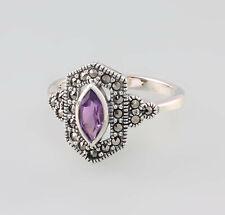 9927676 925er Silber Amethyst-Markasit-Ring Gr.56 Art deco Vintage