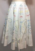 NWT $195 Glam Boho Hand Embellished White Cotton Circle Midi Skirt Size Small
