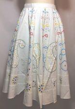NWT $195 Glam Boho Hand Embellished White Cotton Circle Skirt Fits Size Small