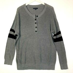 american eagle henley sweater long sleeve grey mens size large cotton