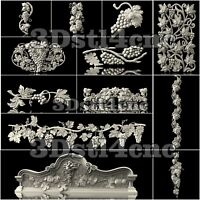 12 3D STL Models Grapes Decor for CNC Router Carving Machine Artcam aspire Cut3D