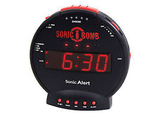 Sonic Bomb Alarm Clock Vibrating Bed Shaker Extra Loud LCD alert lights