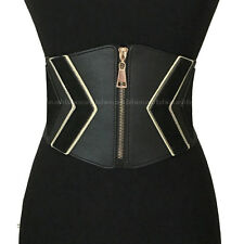"Women Western Elastic Stretch Waist Wide Corset Zipper Metal Belt OBI 33"" M L XL"