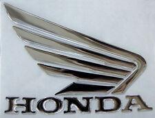 Coppia Scritte e ALI Honda 3d resinate adesive CROMO-3D Honda wings Chromium