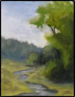 JOEL Love Art Original Oil Painting Trees along Creek Soft Landscape Signed COA