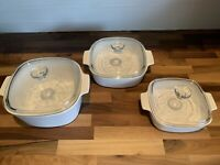 Pyrex Corning Ware Casserole Baking Dish with Lid All White Liter Sizes Set Of 3