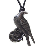 Pewter RAVEN / CROW & PENTAGRAM Pendant on Adjustable Black Cord Necklace