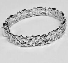 "10kt Solid WHITE Gold Handmade Fashion Nugget Bracelet 11 mm 33 grams 10"""