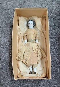 "Antique China Doll German Civil War Era High Brow Original Outfit Dress 10.5"""
