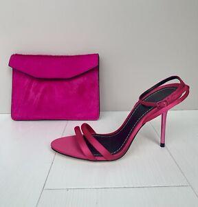 Zara Fushia Pink Strappy High Heels Size 6 And Matching Pony Skin Clutch Bag