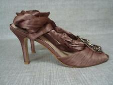 RAVEL UK 5 BROWN SATIN SANDALS WITH RIBBON TIE ANKLES