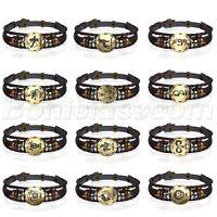 Retro Layered Handmade 12 Constellation Zodiac Beaded Braided Leather Bracelet