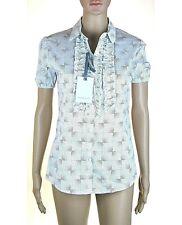 Camicia Donna con Rouche Blusa RISSKIO Italy H692 Bianco/Grigio Tg S M L XL