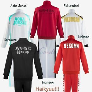 Haikyuu Cosplay Jacket Anime Volleyball Sportswear Karasuno Nekoma Aoba Johsai