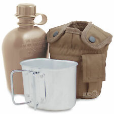 Camping Hiking Military Army Water Bottle Canteen, Mug & Pouch Set Coyote Tan